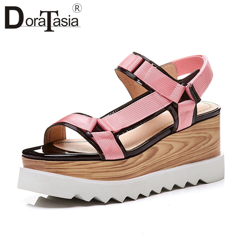 DoraTasia 2019 Summer Fashion Brand Wood Platform Sandals Women Big Size 33 41 mixed color High
