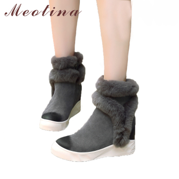 Meotina 2018 Genuine Leather Women Ankle Boots Winter Warm Platform Boots Rabbit Fur Leather Lady Hidden Heel Wedge Footwer