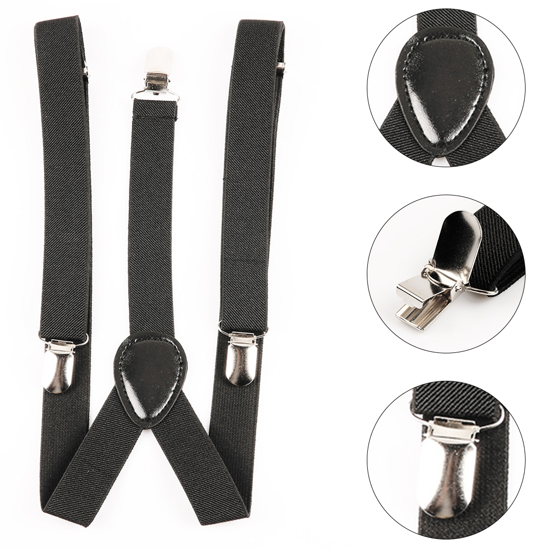 High Quality Farbic Black Mens Womens Unisex Clip-on Suspenders Elastic Y-Shape Adjustable Braces Solids 25*100cm Colorful