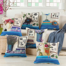 45x45cm Cushion Cover Mediterranean Style Flower Printed Bamboo Linen Wedding Party Throw Pillowcase Sofa Decorative 45x45cm classic pillowcase home flower national style printed cushion cover linen sofa seat bedroom decorative cushions