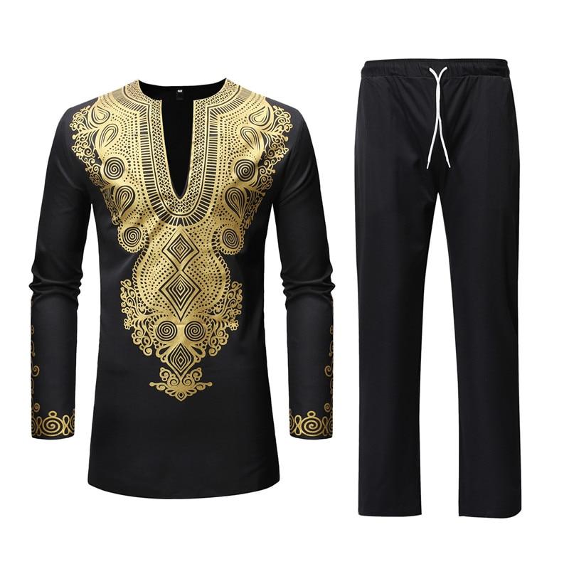 Men African Clothes Mens Top Pant Set 2 Pieces Outfit Set Africa Clothing African Dashiki Print Tops Shirts Camisa Masculina 3XL
