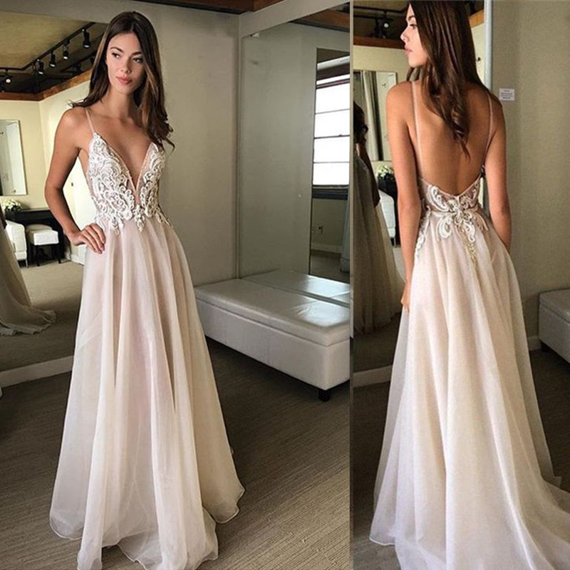 Deep V-neck Neckline Appliques and Tulle   Prom     Dress   with Backless A-line Sweep Train Simple Spaghetti Strap Evening   Dress