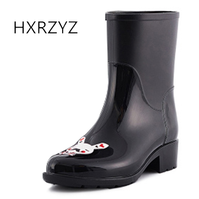 Hxrzyz Women Rain Boots Cartoon Pattern Rubber Boots