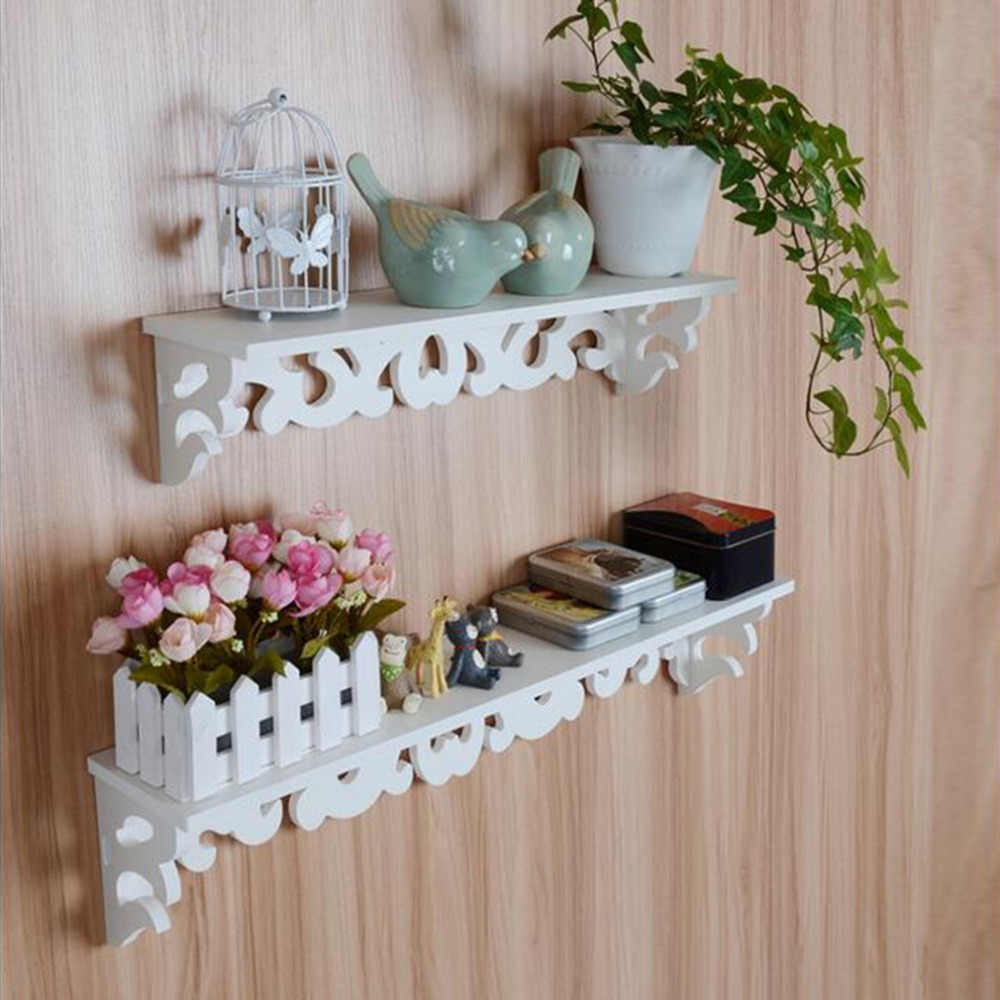 2018 Newly M Model White Wooden Carved Wall Shelf Display Hanging ...
