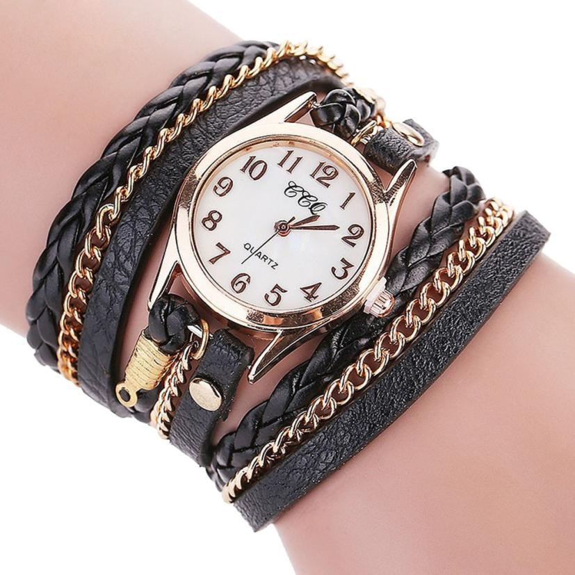 Luxury Brand Women Watches Vintage Leather Gold Small Dial Bracelet Quartz Wrist Watch Womens Dress Clock Creative Aug17 popular brand watch women gold bracelet weave leather