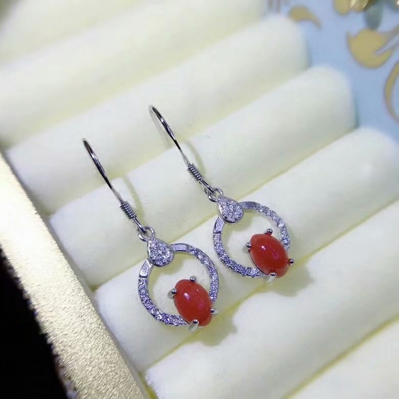 shilovem 925 sterling silver Natural red coral drop earrings fine Jewelry wedding trendy plant gift Christmas  xhfe040609agsh