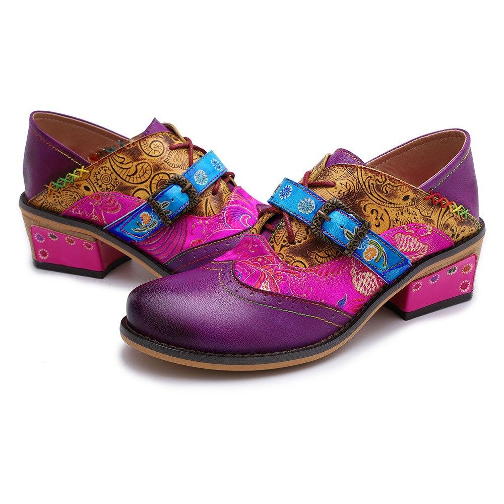 Johnature 2019 جديد الربيع/الخريف اليدوية الرجعية جلد طبيعي جولة اصبع القدم زهرة الخياطة ماري جينس المرأة الأحذية مضخات ميد الكعوب-في أحذية نسائية من أحذية على  مجموعة 2