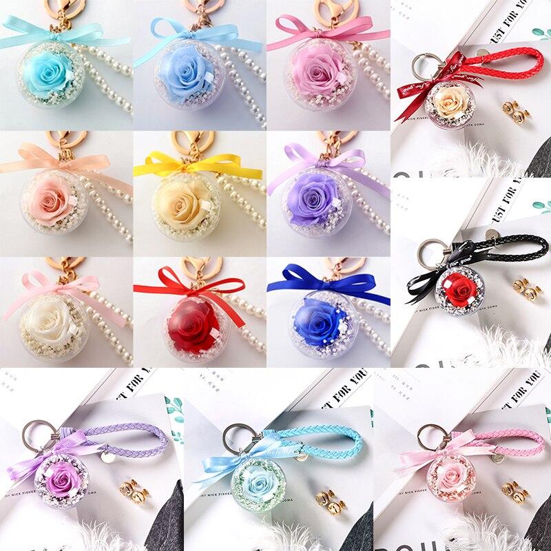 Романтический рождественский подарок для женщин вечные подвески в форме роз украшение автомобиля цветы сушеные цветы Висячие для сумки/брелок