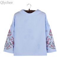 Qlychee Flower Embroidery Stripe Flare Sleeve Blouse Women Spring Autumn Fashion Nine Quarter Cotton Shirts