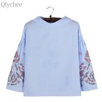 Qlychee Flower Embroidery Stripe Flare Sleeve Blouse Women Spring Autumn Fashion Nine Quarter Cotton Shirts