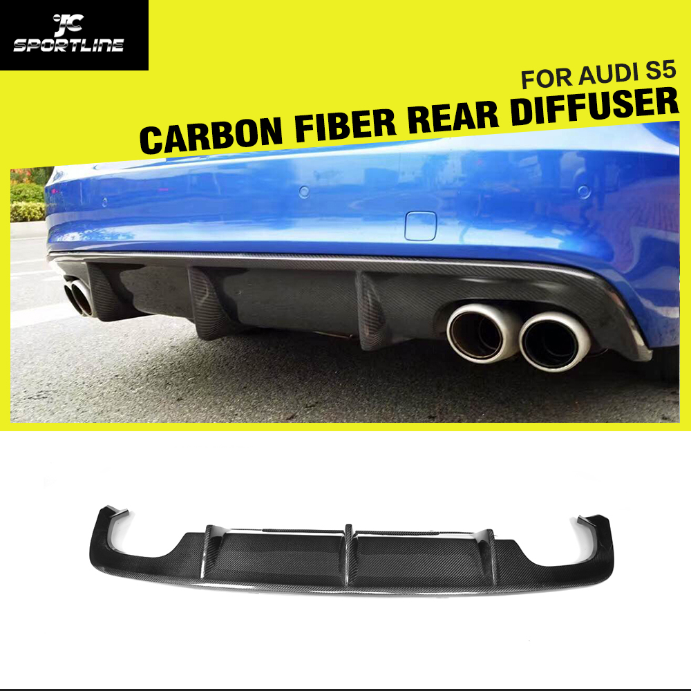 Carbon Fiber Car Rear Diffuser Lip Spoiler Bumper Guard for Audi A5 Sline S5 4 Door 2 Door Sedan Coupe Convertible 2012 - 2016Carbon Fiber Car Rear Diffuser Lip Spoiler Bumper Guard for Audi A5 Sline S5 4 Door 2 Door Sedan Coupe Convertible 2012 - 2016