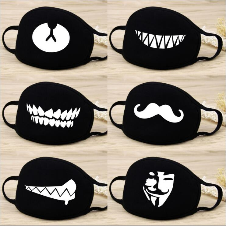 2019 Cute Lovely Women Men's Cartoon Bear Mask Black Cycling Anti-Dust Cotton Cute Bear Mouth Face Mask