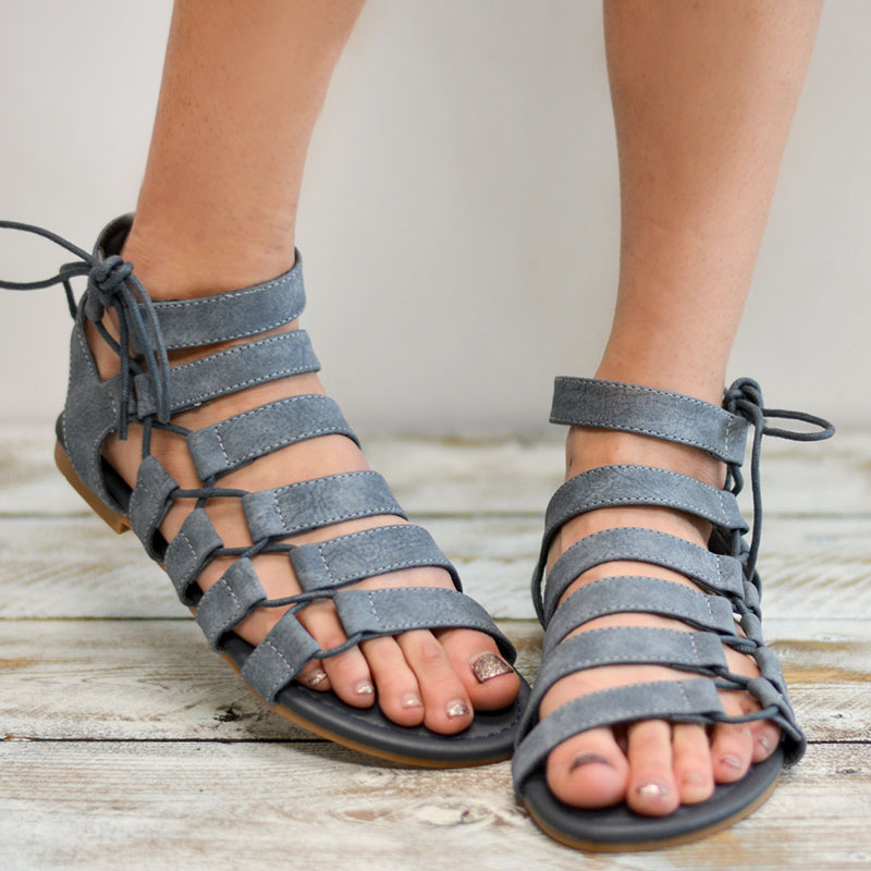 Plus Size 34-43 Gladiator Sandals 2018 Summer Women New Style Casual Summer Shoes Woman Beach Flat Sandals Footwear Ladies Grey women s shoes 2017 summer new fashion footwear women s air network flat shoes breathable comfortable casual shoes jdt103