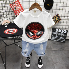 New Toddler Boys Clothing Sets Shiny Stars Reversible Change Color Sequins T-Shirt + Jeans Pants Baby Clothes 2 3 4 5 6 Y
