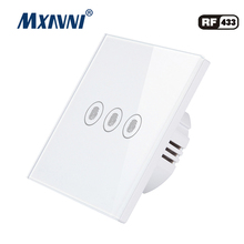 MXAVNI EU/UK Touch Switch LED Wall Light 110-240V 3 Gang 1 Way Waterproof Crystal Tempered Glass Panels
