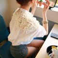 Spring High Quality Lace Blouse Women Casual Tops Ladies Stand Collar Plus Size White Floral Shirt Female Blusa FemininaC9684