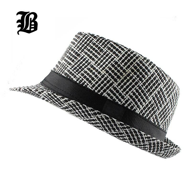 FLB  moda unisex lado Fedora Trilby gangster CAP para las mujeres hombres  verano Beach Sun paja sombrero Panamá hombres celosía moda sombreros b944b7d3d5b