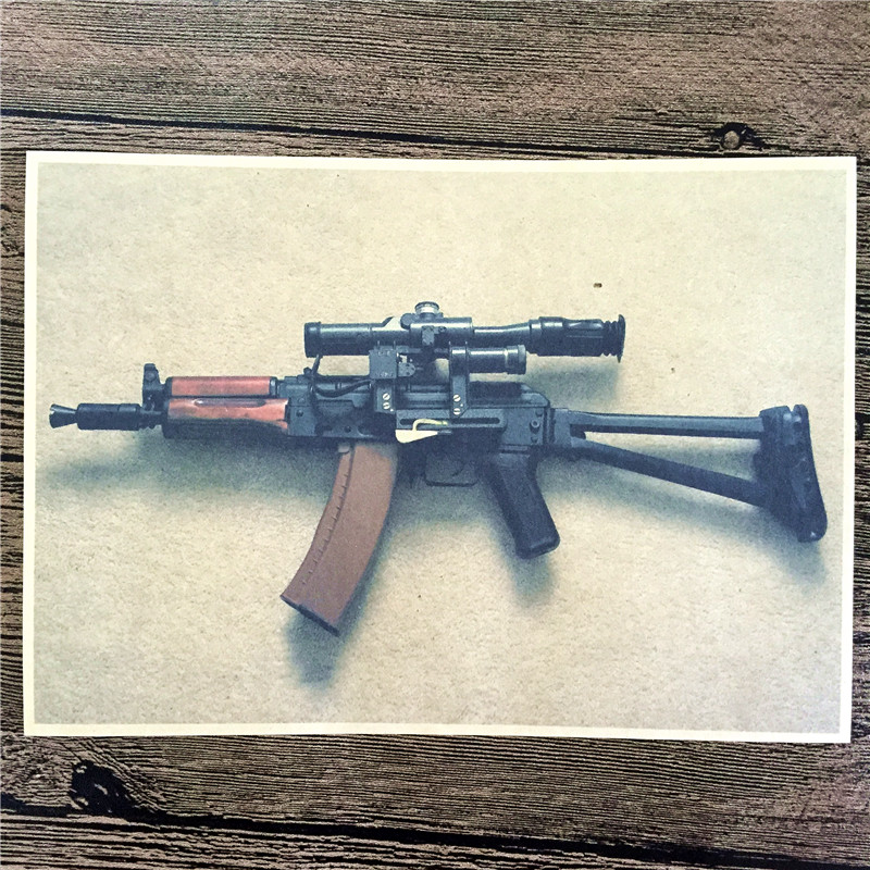 Direct selling RMG-154 kraft paper AK47 machine gun pictures for wall poster home decor cafe bar decorative painting 42x30cm