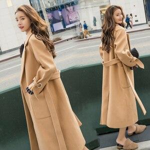 Image 1 - Wmswjh 2019 automne/hiver nouveau femmes décontracté laine mélange trench manteau surdimensionné cachemire manteaux Cardigan Long manteau avec ceinture A220
