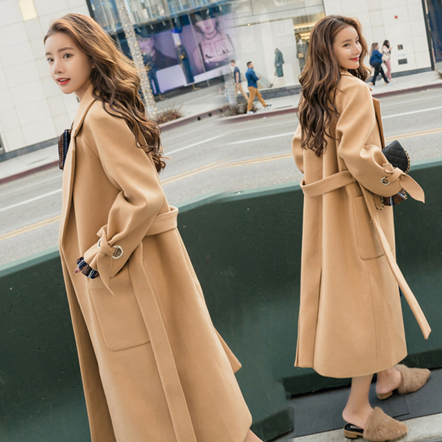 Wmswjh 2019 automne/hiver nouveau femmes décontracté laine mélange trench manteau surdimensionné cachemire manteaux Cardigan Long manteau avec ceinture A220