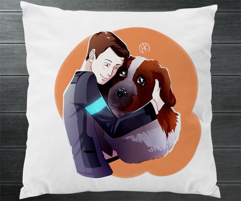 Heerlijk Game Movie Detroit: Geworden Menselijk Connor Hond Cartoon Twee Side Kussensloop Fanart Kussen Kussen Case Cover Verzamelen Cosplay Gift P13