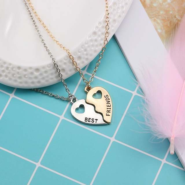 US $1 38 36% OFF|2pcs Best Friend Necklace Women Gold Silver Hollow Love  Heart Best Friends Forever Pendant Necklace BFF Friendship Jewelry Colar-in