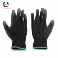 12 paar/satz PU518 antistatische 13 Nadel Farbe Nylon Handschuhe Hand Sicher Sicherheit Schutz L Schwarz verschleißfeste rutschfeste