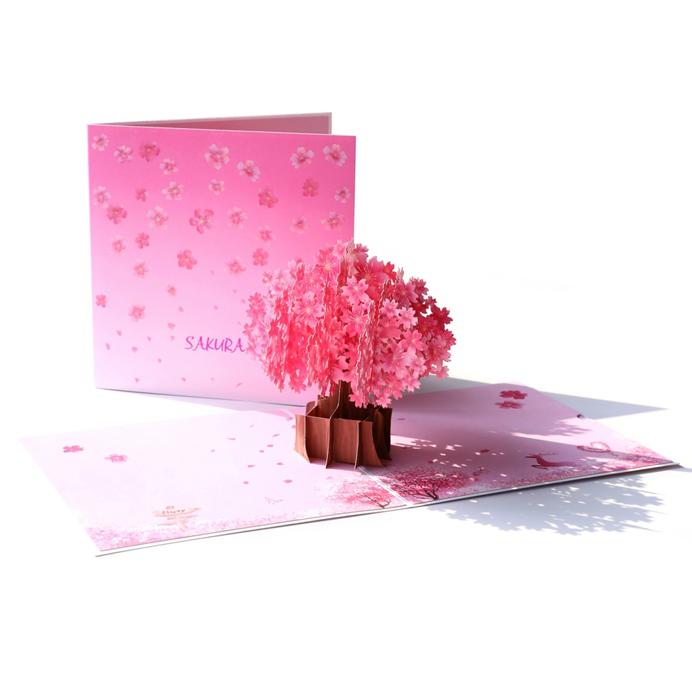 Us 4 16 30 Off Hy Valentine S Day Sakura Birhtday Gift Pop Up Cards Greeting Card For Wedding Invitation Mariage Thank You In
