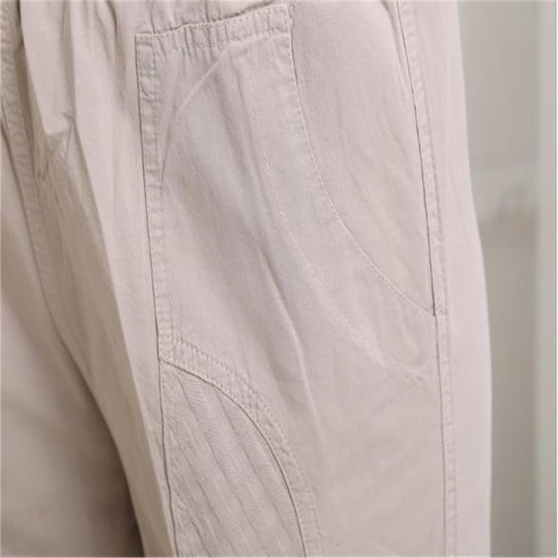 Longitud Tamaño Delgados Señora Mujeres Pants De Primavera Dot Alta Pantalón Pants Tobillo Verano Transpirable Beige khaki white Pants Mujer Capris Oversized green Pantalones Pants Más Lino wxf0qcFp
