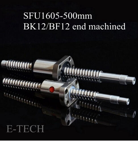 CNC SFU1605 Ballscrew Set : 1pc Ball screw SFU1605 L500mm End Machined for BK12 BF12 +1pc SFU1605 Ball Nut noulei sfu 1605 ball screw price cnc ballscrew 1605 900mm ball screw nut sfu1605 l900mm