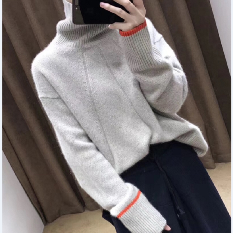 2018 New autumn and winter cashmere sweater female lazy loose short high collar pullover wool sweater