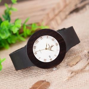 Image 5 - BOBO BIRD Womens Watches Women Retro Wooden Ladies Wristwatch relogio feminino with Black Leather Straps Calendar
