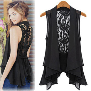 Plus size fashion Woman Chiffon Lace Shirts Blouses OL Lady V Collar Sleeveless Sexy Backless Club Cardigan Waistcoat long tops
