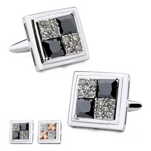 Rhodium Plated With Stone & Crystal Pattern Square Trendy Men Jewelry Cuff Links Shirt Accessories