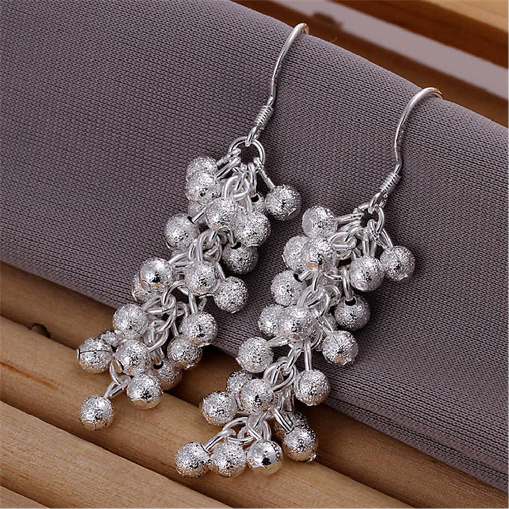 Long Tassel Beads Earrings For Women 2018 New Arrival High Quality Silver Plated Scrub Grape Ball Drop Earring Brinco Jewelry