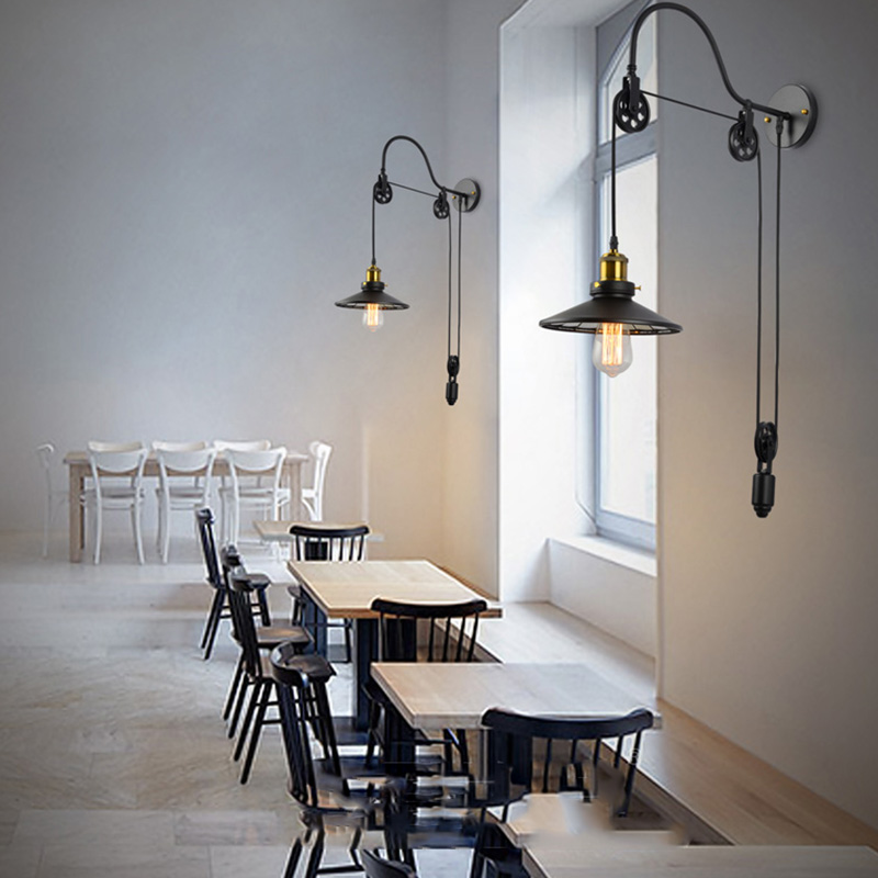 American Loft Vintage Wall Lamp Fashion Antique Home Lighting Wall Sconces For Bar Coffee Store Indoor Decor Light Fixture E063