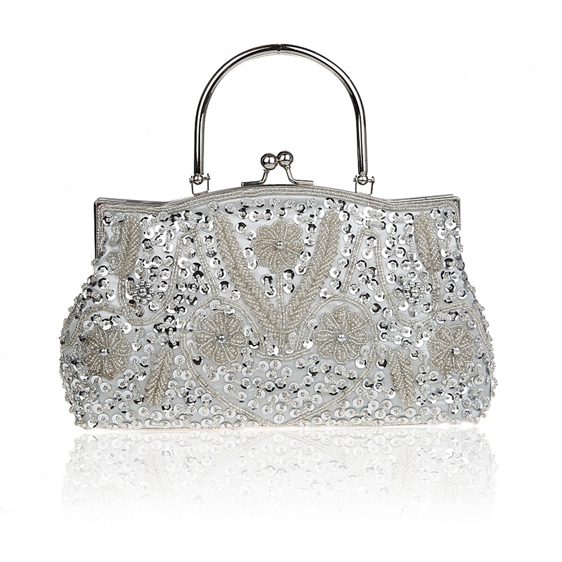 Silver Chinese Women s Beaded Sequined Handbag Clutch Banquet Wedding  Evening Bag Purse Makeup Bag Free Shipping 51151b739af6