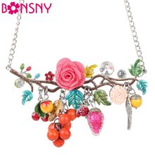 Bonsny Statement Bird Flower Choker Necklace Enamel Alloy Collar Pendant Fashion New Jewelry For Women Charm Accessories(China)