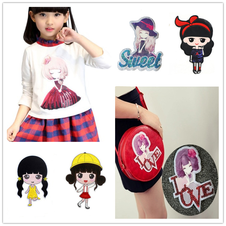 Lovely Princess T-shirt Large Cartoon Embroidery Little Girl Pearl Piece Cloth Sticking Down Clothes, Sweaters And Trousers