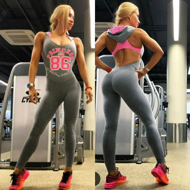 91c0a661462 Hot Sexy Girls Backless Playsuit Fitness Tights Jumpsuits Costume Yoga  Sport Suit Gym Tracksuit For Women