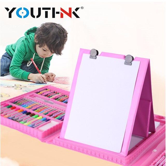 208 unids/lote niños colores lápiz dibujo artista Kit pintura arte rotulador conjunto Color pluma pincel dibujo herramienta arte conjunto