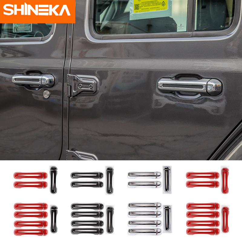 SHINEKA ABS Car Exterior Side Door Handle Tailgate Handle Hinge Decoration Cover Stickers For Jeep Wrangler