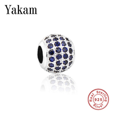 Fit Original Pandora Charms Bracelet Pave Blue Zirconia CZ Beads Women Jewelry Making 925 Sterling Silver Bangle DIY Accessories стоимость