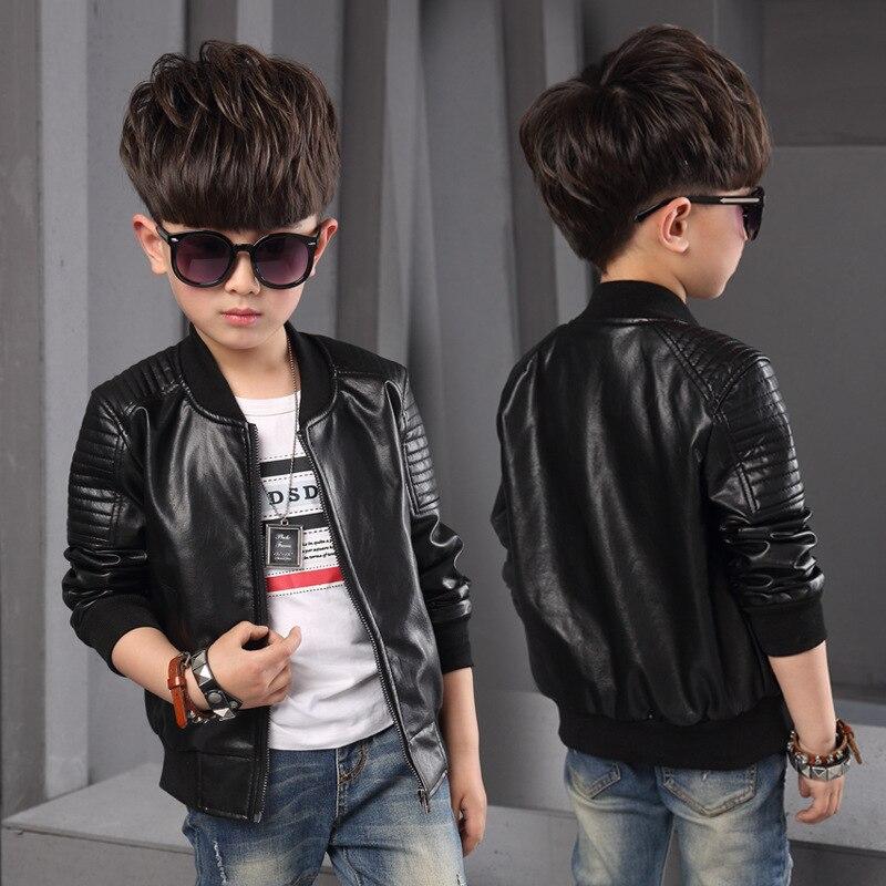 Куртка-бомбер из искусственной кожи для мальчиков и девочек, черная ветрозащитная куртка на осень и зиму для детей 4, 5, 6, 8, 10, 12 лет, 2019
