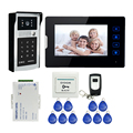 "FREE SHIPPING 7"" Touch Key LCD Screen Video Door Phone Intercom System + 1 Monitor + Outdoor RFID Code Keypad Doorbell Camera"