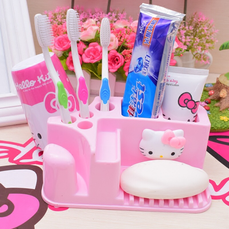 VKStory Life Pink  Hello Kitty Plastic Storage Rack For Bathroom Bedroom Stationery Cosmetics