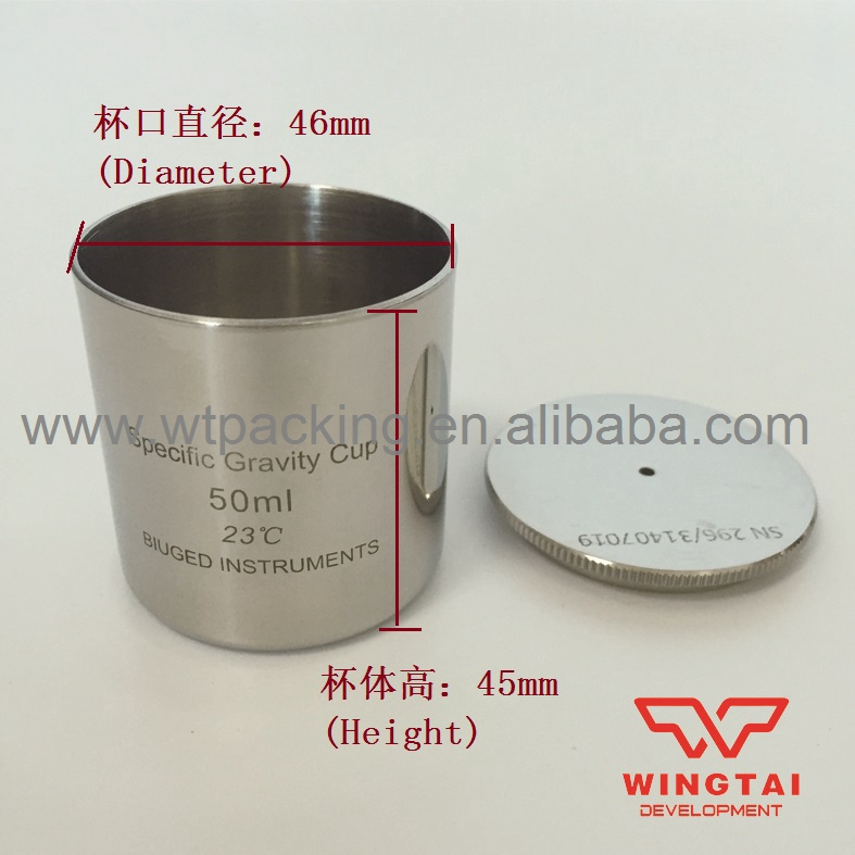 Lab Testing Stainless Steel Density Cup 50ml Capacity Specific Gravity Cup