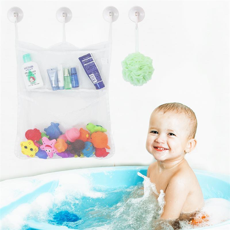 Home Bath Tub Baby Net Mesh Organizer Toy Storage Bag Suction Hanging Bathroom