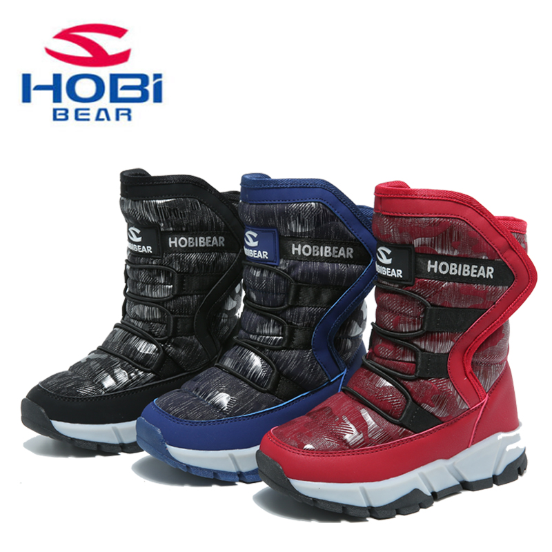 HOBIBEAR boots for girls boys winter fashion snow boots waterproof warm fur mid-calf children shoes H7557 2016 new winter kids snow boots children warm thick waterproof martin boots girls boys fashion soft buckle shoes baby snow boots