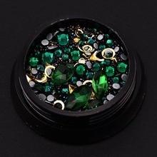 Diy-Tip Diamond Frame Beaded Caviar Gems-Decorations Nail-Art Rhinestones Shapes Gold